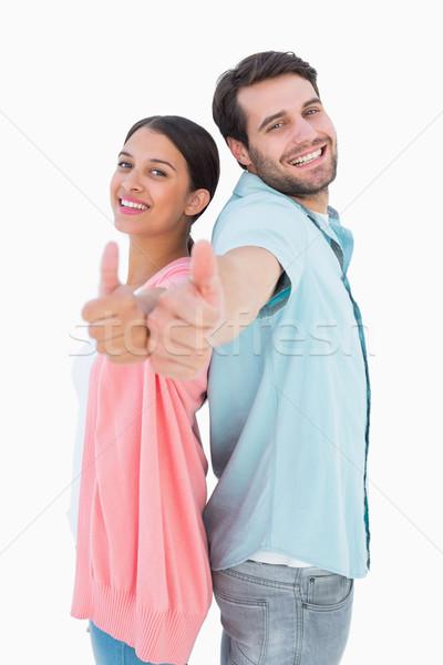 Gelukkig paar tonen witte communicatie Stockfoto © wavebreak_media