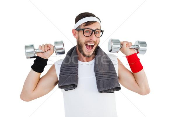 гантели спортивная одежда белый фитнес Сток-фото © wavebreak_media