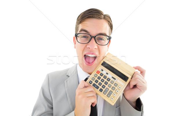 笑みを浮かべて ビジネスマン 電卓 白 肖像 ストックフォト © wavebreak_media