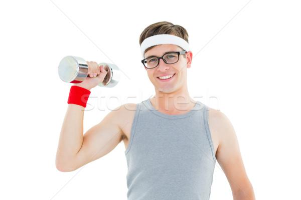 Hipszter pózol sportruha súlyzó fehér fitnessz Stock fotó © wavebreak_media