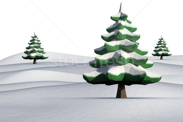 ель деревья пейзаж белый лес льда Сток-фото © wavebreak_media
