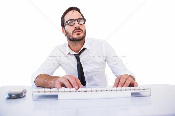 Działalności pracownika okulary do czytania komputera biały człowiek Zdjęcia stock © wavebreak_media