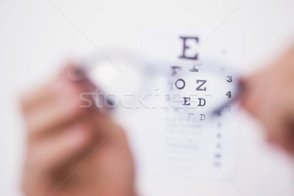 Okulary do czytania patrząc biały ręce człowiek Zdjęcia stock © wavebreak_media