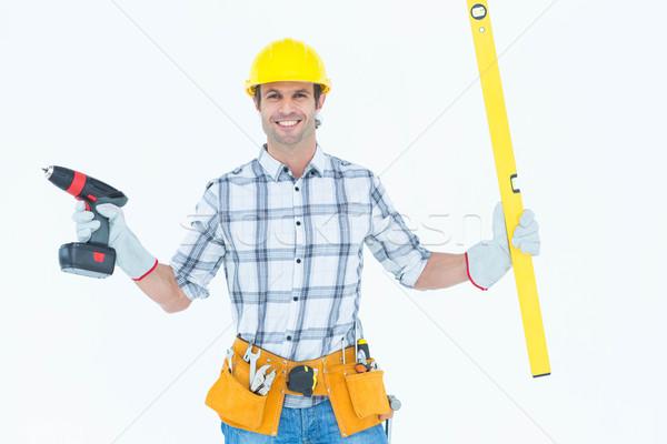 Technikus tart hordozható fúró szellem szint Stock fotó © wavebreak_media