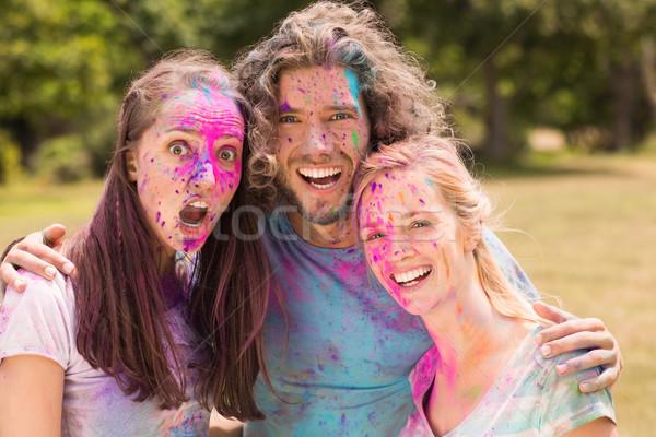 Boldog barátok fedett por festék napos idő Stock fotó © wavebreak_media