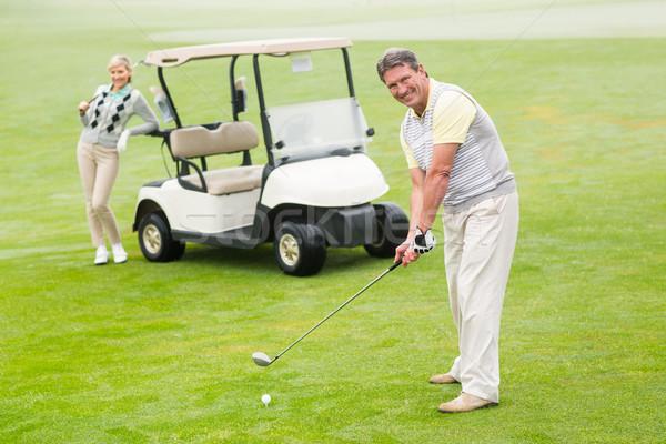 гольфист партнера за туманный день Сток-фото © wavebreak_media