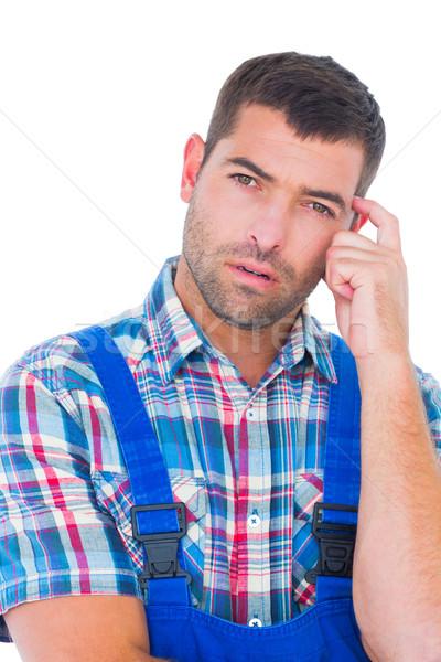 Portrait confondre manuel travailleur tête blanche Photo stock © wavebreak_media