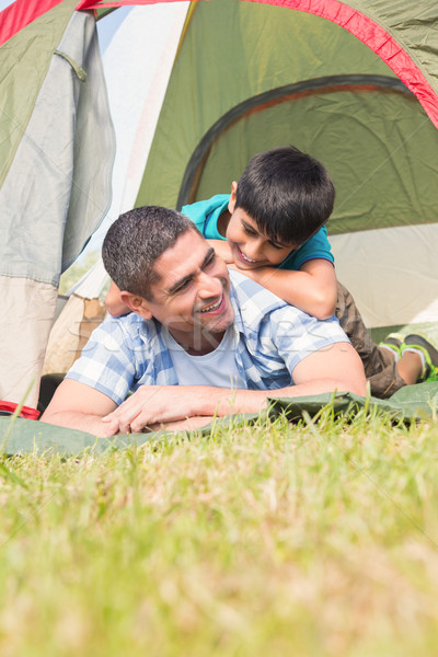 Father and son in their tent in the countryside  Stock photo © wavebreak_media
