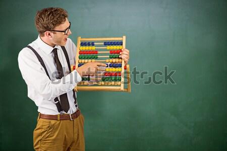 бизнесмен счеты серый бизнеса человека счастливым Сток-фото © wavebreak_media