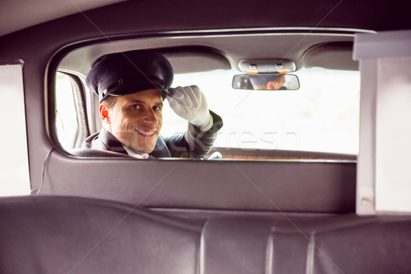 Limuzin sürücü gülen kamera adam takım elbise Stok fotoğraf © wavebreak_media