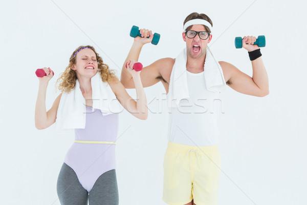 Para hantle odzież sportowa biały Zdjęcia stock © wavebreak_media