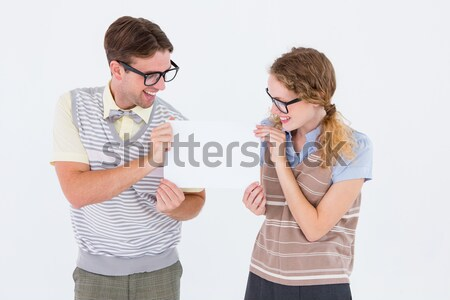 Geeky hipster couple singing into a microphone Stock photo © wavebreak_media