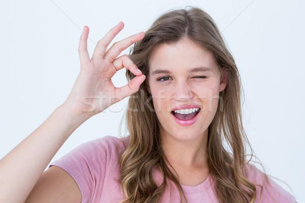 красивая женщина вызывать знак белый Сток-фото © wavebreak_media