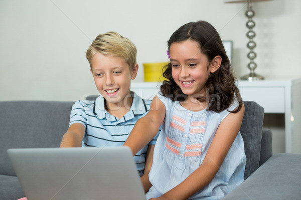 Sonriendo hermanos usando la computadora portátil salón casa ordenador Foto stock © wavebreak_media