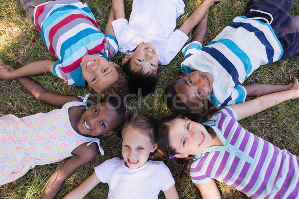 Smiling friends lying on grassy field in forest Stock photo © wavebreak_media