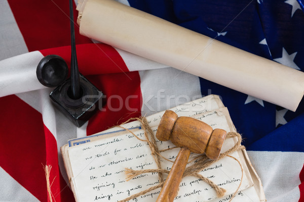 Gavel with tied up documents arranged on American flag Stock photo © wavebreak_media
