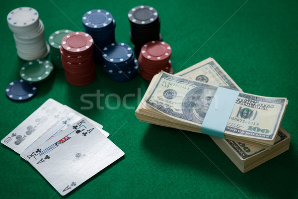 High angle view of cash with chips and cards Stock photo © wavebreak_media