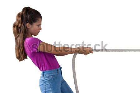 Girl pulling the rope Stock photo © wavebreak_media