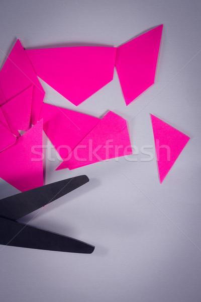 Makas kâğıt beyaz ofis sanat Stok fotoğraf © wavebreak_media