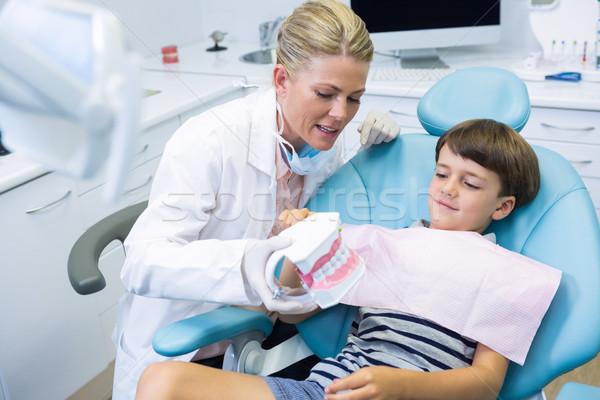 Dentista dental muffa parlando ragazzo Foto d'archivio © wavebreak_media