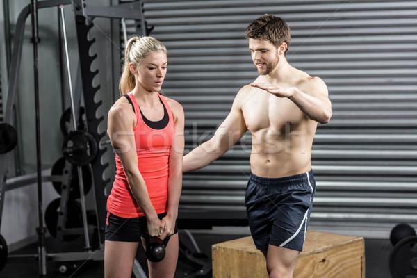 пару гантели crossfit спортзал женщину Сток-фото © wavebreak_media