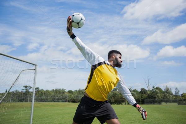 Goalkeeper ready to throw soccer ball Stock photo © wavebreak_media