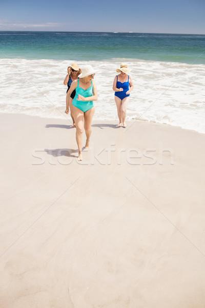 Idős nő barátok ki víz tengerpart Stock fotó © wavebreak_media