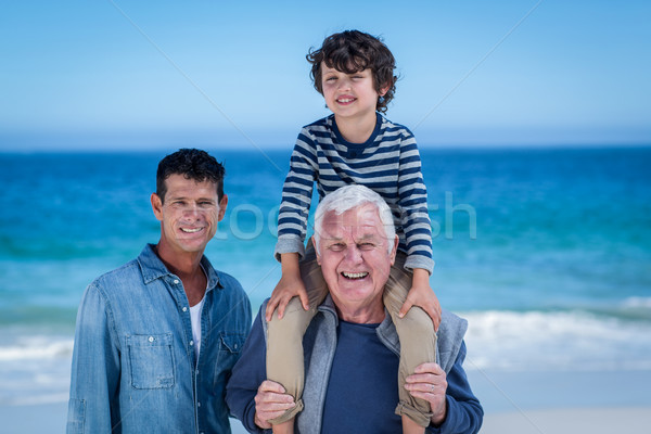 Male family members playing at the beach Stock photo © wavebreak_media
