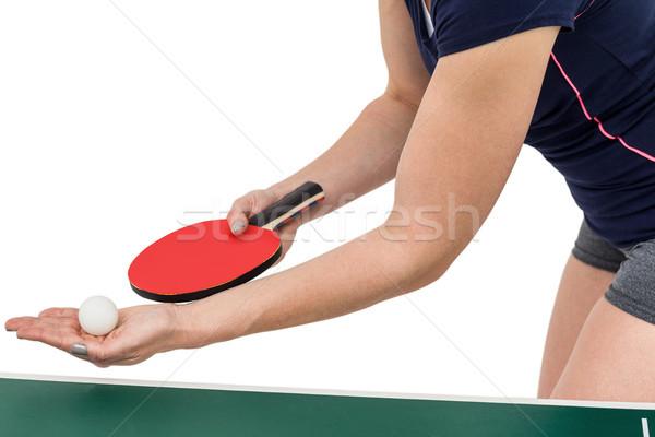 Kadın atlet oynama masa tenisi beyaz spor Stok fotoğraf © wavebreak_media
