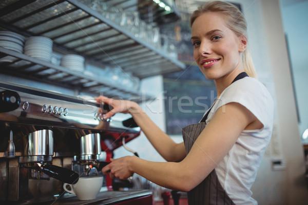 肖像 ウエートレス カフェテリア 幸せ 女性 ストックフォト © wavebreak_media