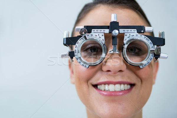 Female patient wearing messbrille during eye examination Stock photo © wavebreak_media
