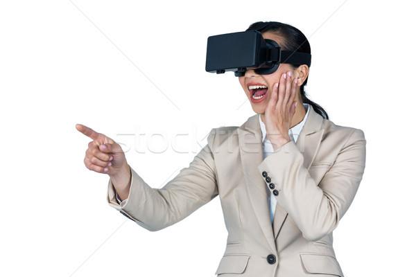 деловая женщина виртуальный реальность гарнитура белый технологий Сток-фото © wavebreak_media