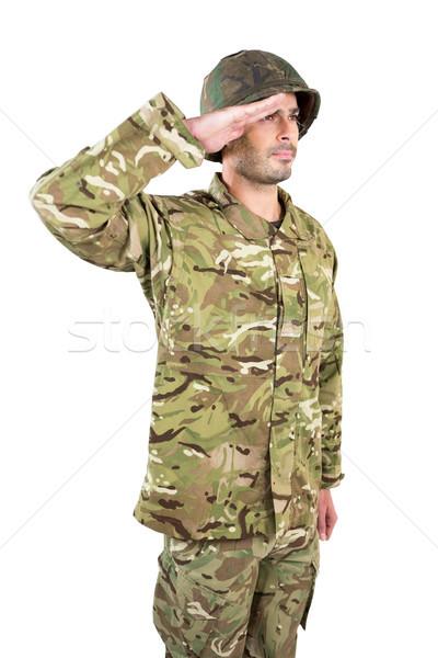 Asker adam mutlu savaş eğlence Stok fotoğraf © wavebreak_media
