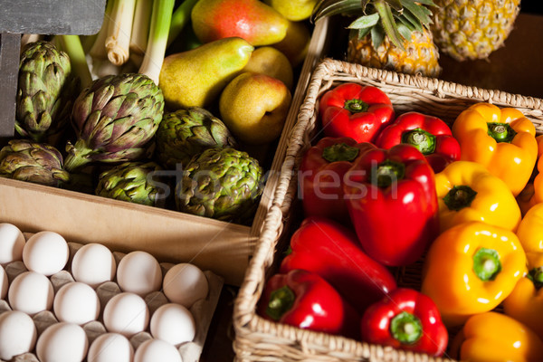 Various fruits, vegetables and eggs in organic section Stock photo © wavebreak_media