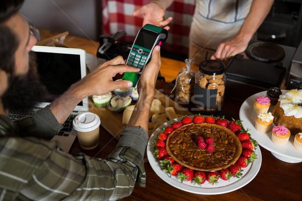 Сток-фото: клиентов · оплата · кредитных · карт · борьбе · кофейня