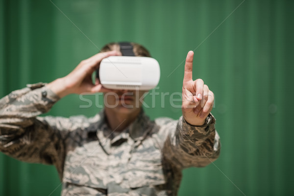 Military soldier using virtual reality headset Stock photo © wavebreak_media