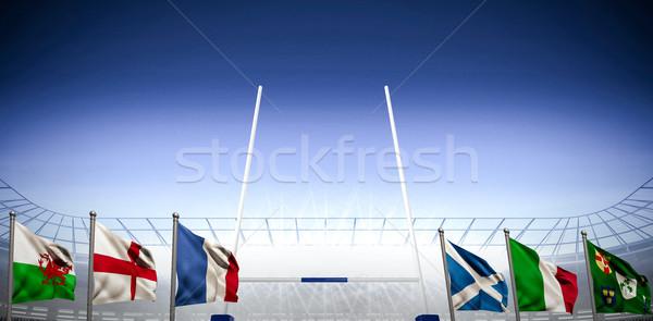 összetett kép rögbi pálya stadion Stock fotó © wavebreak_media