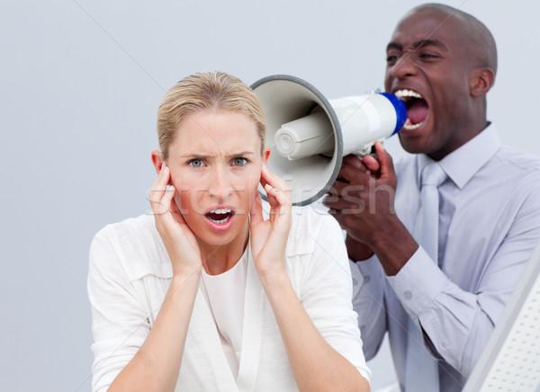 Woedend zakenman megafoon kantoor spreker Stockfoto © wavebreak_media