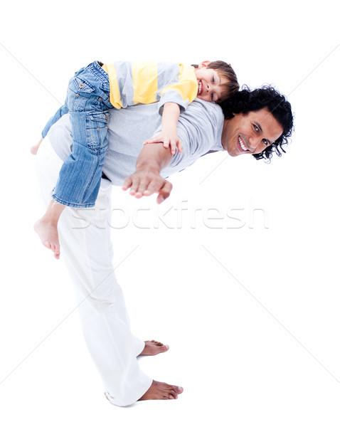 Mosolyog apa fia játszik együtt izolált fehér Stock fotó © wavebreak_media
