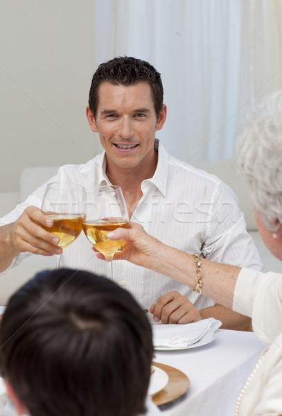 Stockfoto: Aantrekkelijk · man · moeder · diner · christmas