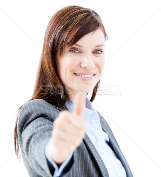 Nice деловая женщина служба счастливым пространстве исполнительного Сток-фото © wavebreak_media