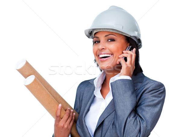 Stockfoto: Vrouwelijke · architect · telefoon · blauwdrukken · witte · business