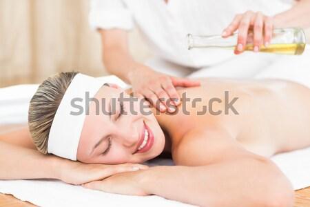 Stock fotó: Közelkép · nyugodt · nő · fej · masszázs · fürdő