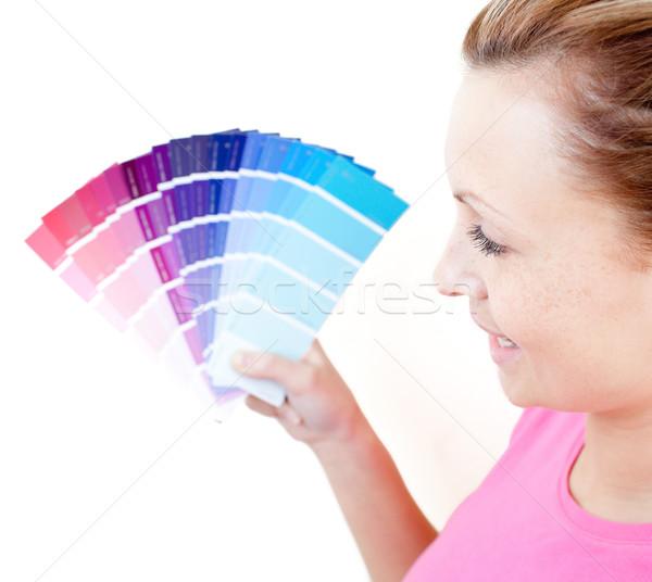 Foto stock: Encantado · mulher · cores · sala · de · estar · feliz · casa
