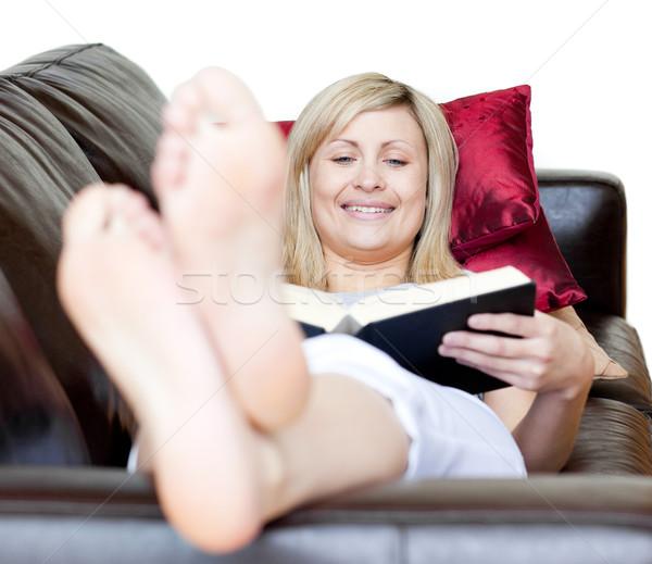 книга диван улыбка портрет Сток-фото © wavebreak_media