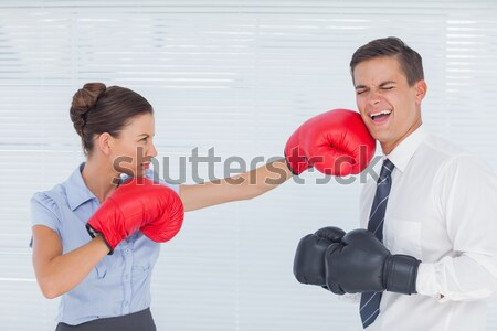 Concentrated hispanic woman with boxing gloves working out against a white background Stock photo © wavebreak_media