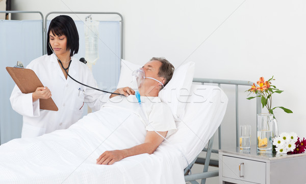 Nurse whith her mature patient in a hospital Stock photo © wavebreak_media