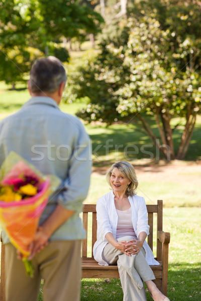 Homem maduro oferta flores esposa homem jardim Foto stock © wavebreak_media