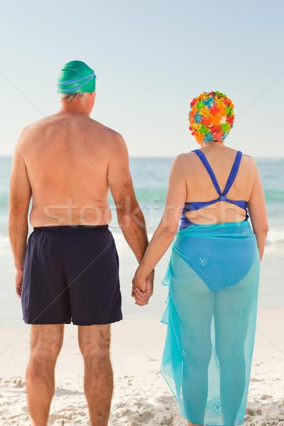 Stok fotoğraf: Aşık · yaşlı · çift · plaj · kadın · kız