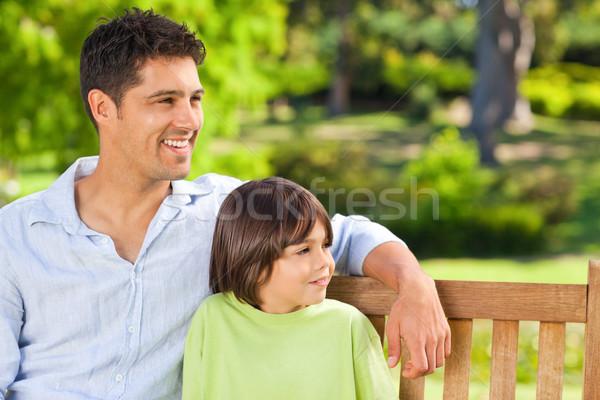 Oğul baba bank adam yaz yeşil Stok fotoğraf © wavebreak_media